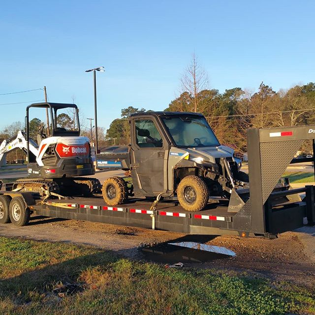 Excavator, all terrain light duty front end loader and 40ft gooseneck headed out to the job site  #deridder #leesville #fortpolk #equipmentrental #deridderrentals